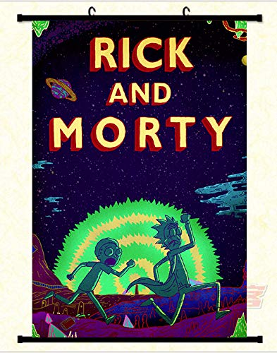 Tina Art Rick and Morty Adventure 36 x 24 inches Framed Fabric Wall Poster with Frame and - Art Fabric Framed