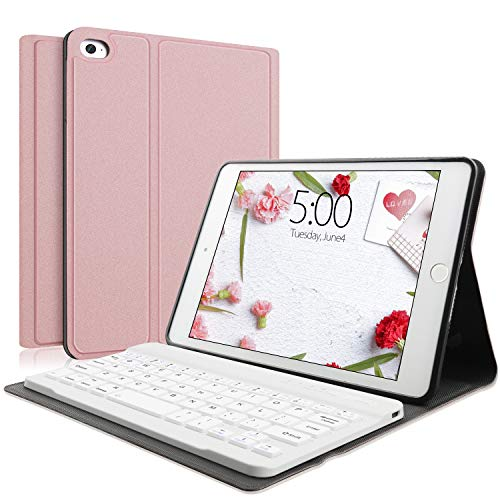 Keyboard Case Compatible with iPad Mini 5/4/3/2/1, iPad Mini Case with Keyboard Removable Wireless Connect, Soft Rubber PU Case (Rose Gold,Mini)