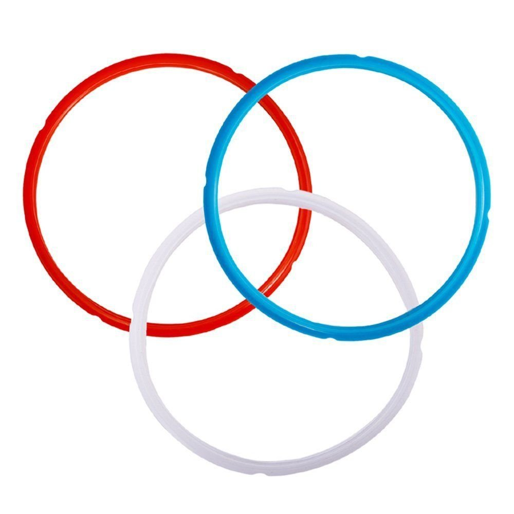 ANTOBLE Silicone Sealing Ring for Instant Pot 5 or 6 Quart - 3 Pack Red, Blue and Common Transparent White