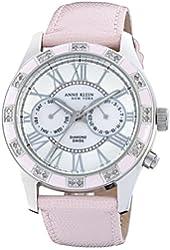 Anne Klein New York Women's 122019PMPK Genuine Diamond Silver-Tone Pink Enamel Multi-Function Strap Watch