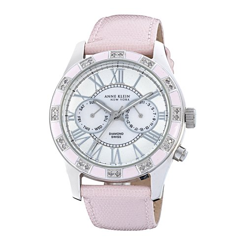 Anne Klein New York Women's 122019PMPK Genuine Diamond Silver-Tone Pink Enamel Multi-Function Strap Watch