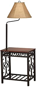 Travata Cherry Wood End Table with Floor Lamp