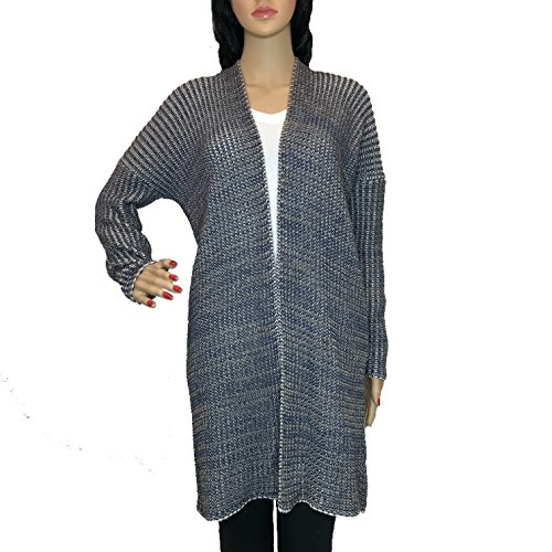 Acrylic Yarn Denim (Ioana Long Open Cardigan Sweater Coat Made In USA Of Imported Yarns (L, Denim Combo))