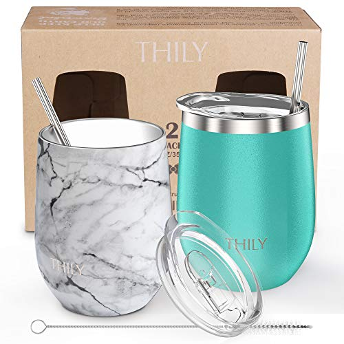 Vacuum Insulated Stemless Wine Tumbler - THILY T1 Triple-Insulated Stainless Steel Wine Glass Travel Cup with Lid and Straw, 12 oz, Keep Cold & Hot for Drinks, Coffee, Cocktails, 2 Pack(Teal + Marble)