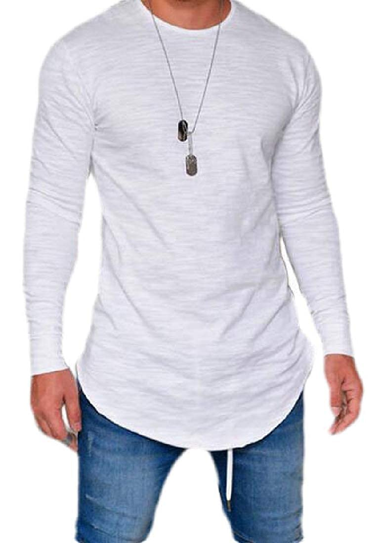 Mstyle Men Solid Color Casual Slim Long Sleeve Crew Neck T-Shirts Tee
