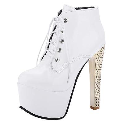 0355576c8b YE Damen Extreme High Heels Stiefeletten Blockabsatz Plateau Ankle Boots  Knöchelstiefel Schnürsenkel Stiefel Fashion 15cm Absatz