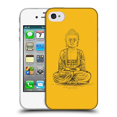 GoGoMobile Coque de Protection TPU Silicone Case pour // Q07690602 Bouddha 4 ambre // Apple iPhone 4 4S 4G