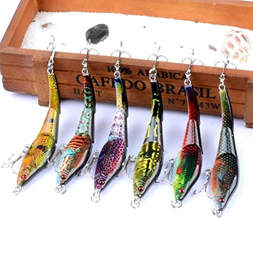 6 Pieces/Lot 3 Sections Fishing Lures Painting Series Wobblers Crankbaits Artificial Hard Baits