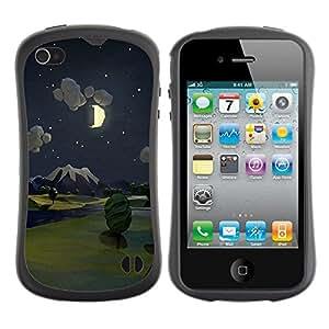 Fuerte Suave TPU GEL Caso Carcasa de Protección Funda para Apple Iphone 4 / 4S / Business Style Painting Night Moon Nature