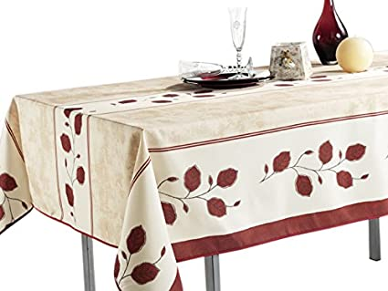 Ordinaire 60 X 80 Inch   Rectangular Tablecloth Beige Red Leaf, Stain Resistant,  Washable