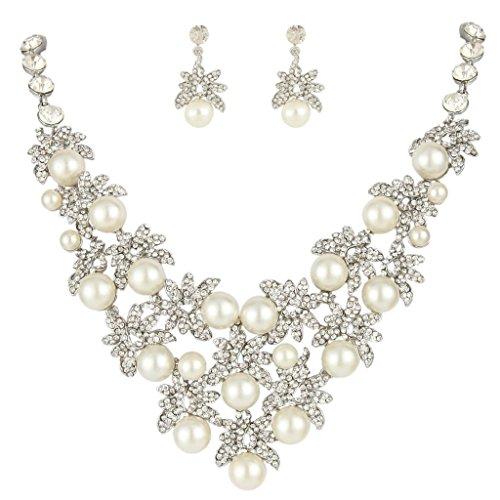 (EVER FAITH Silver-Tone Austrian Crystal Cream Simulated Pearl Leaf Cluster Jewelry Set)