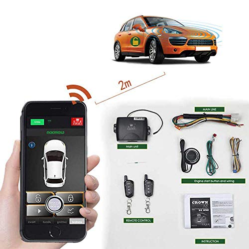 Remote Car Starter 2-Way Automatic Car Alarm System Phone APP Keyless Entry PKE Central Locking with Two 4-Button Controls Remote Start (Automatic Car Starter For Push Button Start)