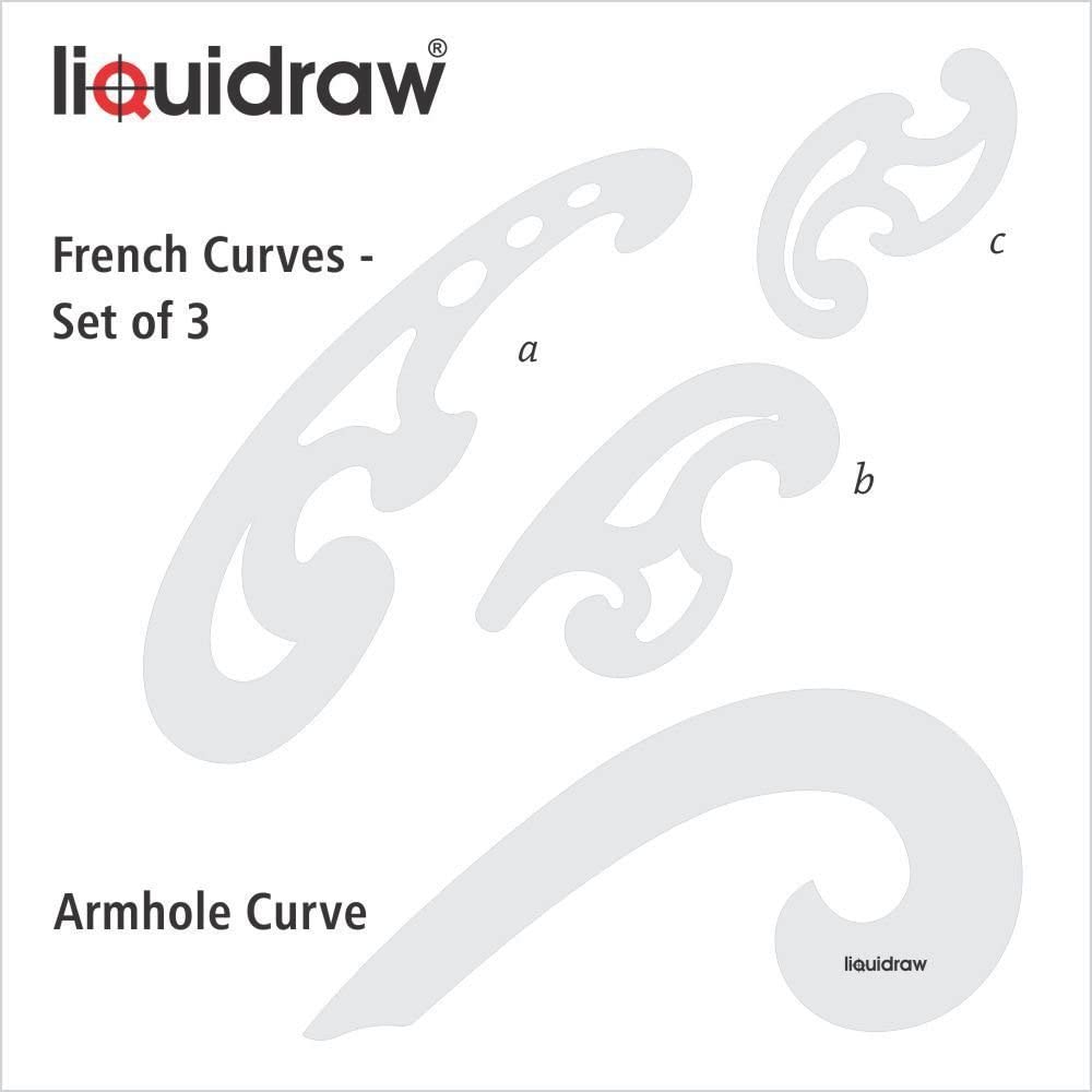 SET OF 3 PLASTIC FRENCH CURVES CURVE TRANSPARENT STENCIL WITH ELLIPSE TEMPLATES