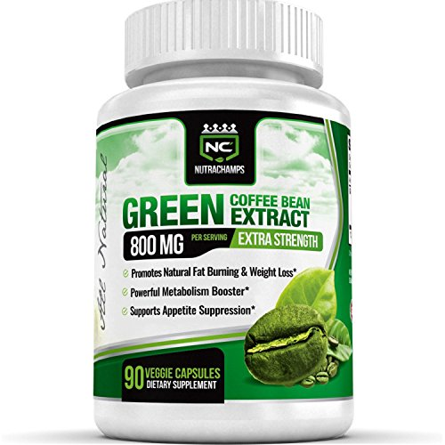 NutraChamps Green Coffee Bean Extract 800mg - 90 Capsules - Best Value - 100% Natural Weight Loss Supplement with Chlorogenic Acid Antioxidant GCA - Highest Quality, Purity & Potency Available (Naturabest Green Coffee Bean compare prices)