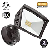 LED Outdoor Flood Light,Dusk-to-Dawn (Photocell Included), 3400lm Ultra-Bright Waterproof Security Floodlight, 28W (220W Equiv.), DLC and ETL-Listed Exterior Lighting for Yard Porch, 3000K Warm White