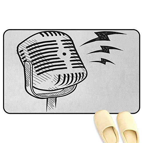 homecoco Doodle Bathroom Rug Carpet Retro Microphone Communication and Media Concept Radio Show Speech Talk Podcast Black White Indoor/Outdoor/Front Door/Bathroom Mats Rubber Non Slip W39 x L63 INCH ()