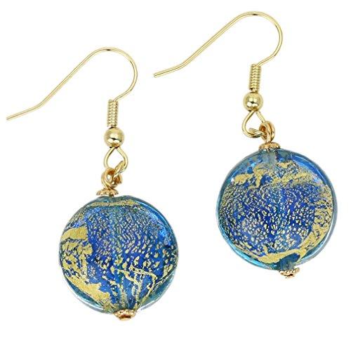 GlassOfVenice Murano Glass Ca D'Oro Earrings - Aqua Murano Glass Earring