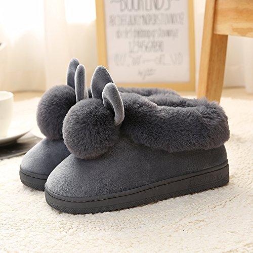 Cotone habuji inverno pacchetto al coperto con una spessa home piano antiscivolo bella home inverno pantofole pantofole uomini e donne, 40-41, un- grigio