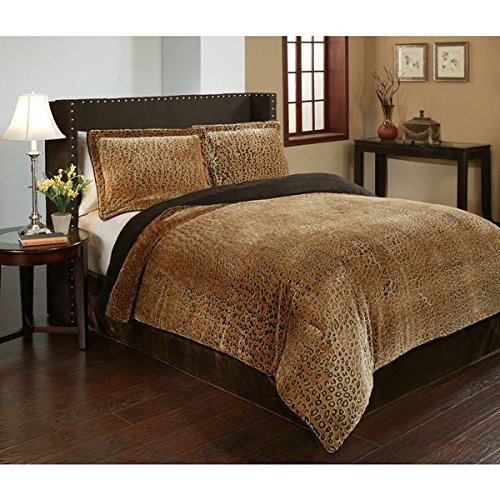3 Piece King Dark Brown Velvet African Comforter Set, Reversible Comforter, Cheetah Printed Design, Casual Style, Fancy Luxury Bedding, Modern Pattern for Master Bedrooms, Light Black And Golden