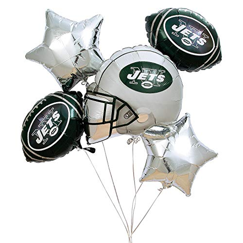 Fun Express - Nfl New York Jets Balloon Set (5pc) for Party - Party Supplies - Licensed Tableware - Misc Licensed Tableware - Party - 5 Pieces