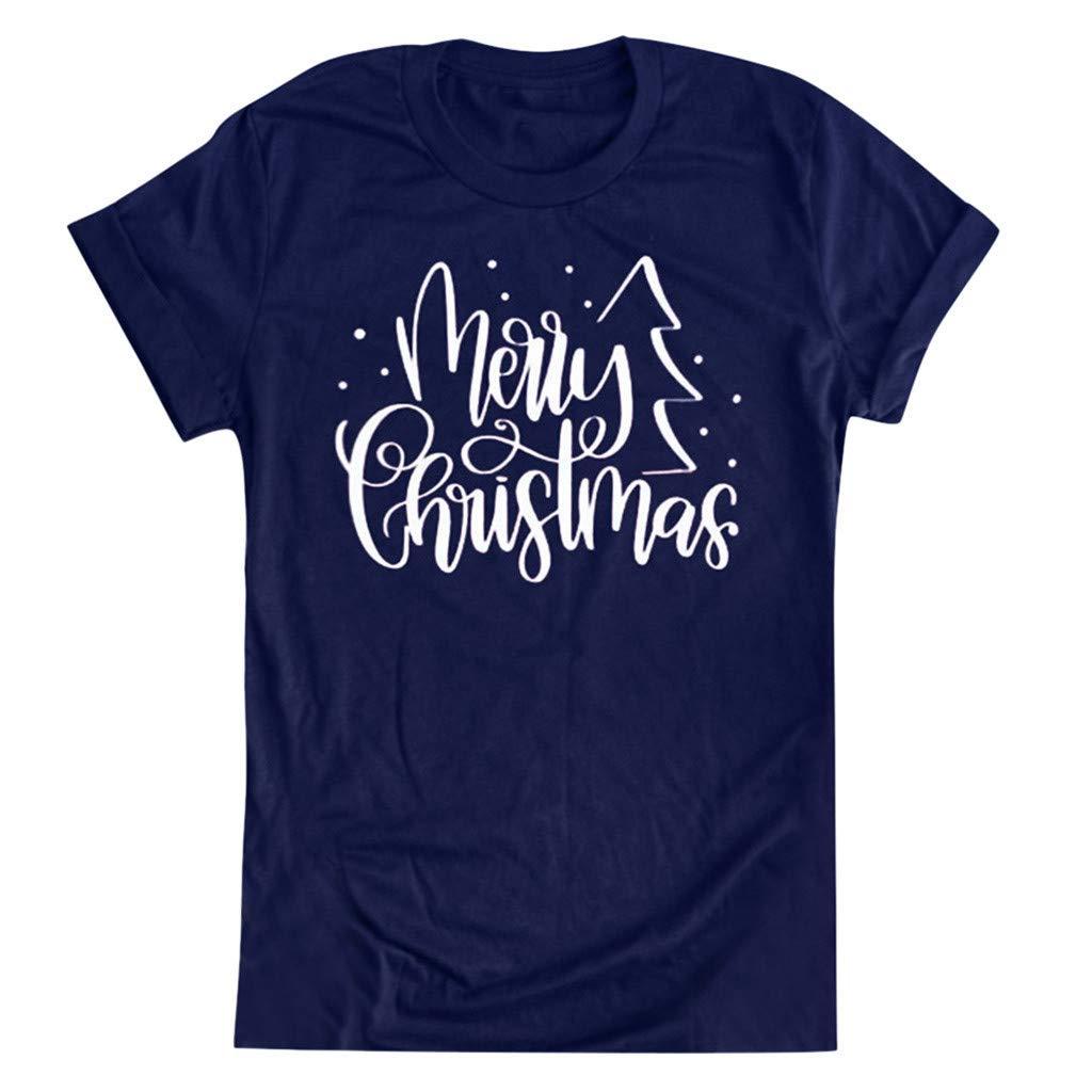 QIUUE Christmas Women's O-Neck Tops T-Shirt Short Sleeve Casual Cute Holiday Sweatshirt Xmas Letter Pullovers Navy by QIUUE