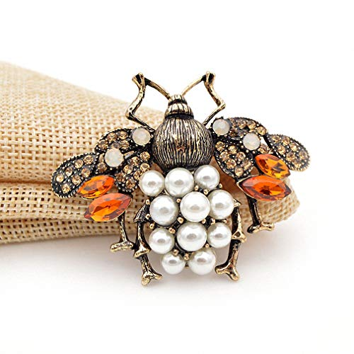 Jana Winkle 3 Colors Choose Pearl Rhinestone Big Bee Brooches Women Insect Pin Gift Coffee by Jana Winkle (Image #4)'