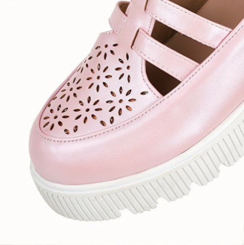 Odomolor Women's Buckle Round-Toe Kitten-Heels PU Solid Pumps-Shoes, Pink, 38