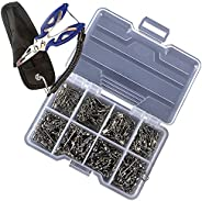 141Pcs Barrel Snap Swivel Fishing Accessories Ball Bearing Swivels Snaps Connector High Strength Stainless Fis