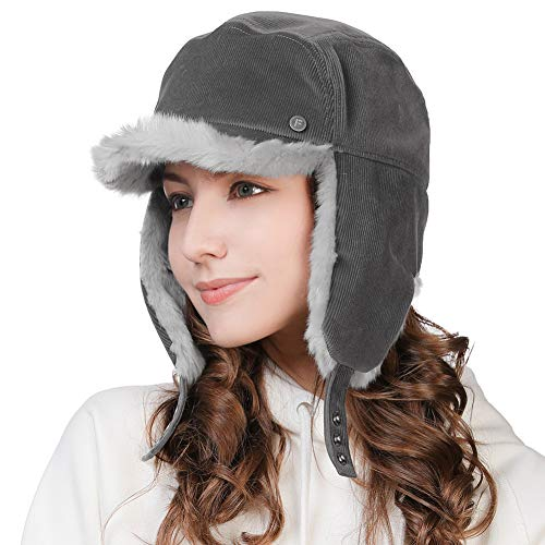 Winter Trapper Hat for Women Baseball Cap with Earflap Elmer Fudd Hat Fur Hunting Snow Cold Weather Ladies Corduroy Grey