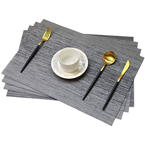 One Boat Placemats for Dinging Table PVC Table Mats Placemat Set of 6 Heat Resistant Tablemats Non-Slip Washable Kitchen Mats (6, Black+Grey)