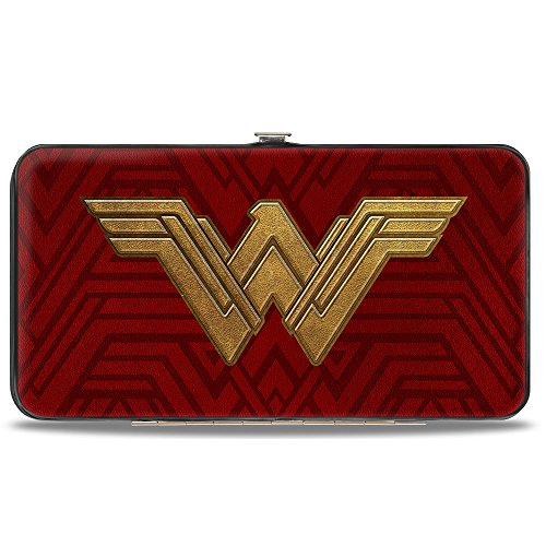 Buckle-Down Hinge Wallet - Wonder Woman 2017 Icon + Tiara Star Reds/Golds by Buckle Down