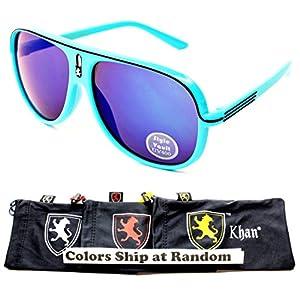 Kd240-kp Khan Brand Lion Logo Kids Child 6-12yr Eyeglasses Sunglasses (F3127R Cyan/Black-Blue Mirror)