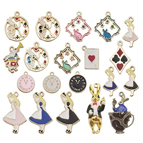 Youdiyla 20pcs Alice Girl Rabbit Clock Charms Collection, Enamel Charms, Alice in Wonderland Fairy Metal Pendants for Jewelry Findings (HM187) ()