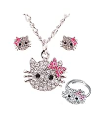BOLY Womens Silver Plated Alloy Crystal Jewelry Set Cute Hello Kitty Pendant Necklace Ring Earrings (Set of 3)
