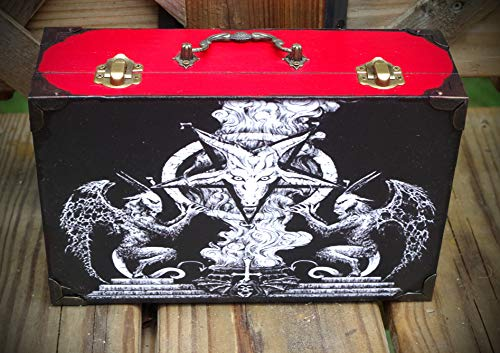 Sigil of Baphomet Pentagram Red and Black Hand Made Trinket Stash Jewelry Keepsake Box w/Handle ()