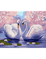 Wowdecor Paint by Numbers Canvas Kits for Adults Beginner Kids, DIY Acrylic Number Painting - Swan Lotus Pond Romantic 16x20 inch - Wall Art Digital Oil Painting Home Decor Christmas Gifts (Frameless)
