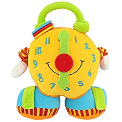 Naovio Kids Cotton Soothing Alarm Clock Plush Toy Companion Stuffed Toy Educational Toy for Toddlers