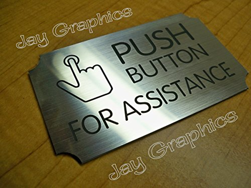 Engraved PUSH BUTTON for ASSISTANCE Wall Sign | Silver 3x5 Plaque | Retail Business Store Office | Adhesive Backed