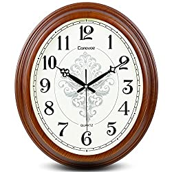 FortuneVin Wall Clock Silent movement Wall Clock Home Office Decor for Living Room Bedroom and Kitchen Clock Wall 20-Inch Modern Simple Mute Creative Country Round, Imitation Wood Digital Keyboard
