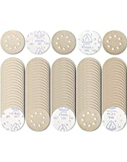 NYXCL 5 inch 8 Hole 100Pcs Sanding Discs Pad Set Dustless Hook&Loop 60/80/100/120/180/240 Grit Surface Conditioning Burr Rust Paint Removal for Woods and Metal