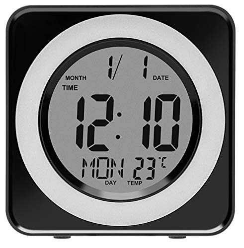 Alarm Clock,Digital LCD Display Portable Modern Alarm Clock with Snooze Time Temperature for Bedroom,Office,Living Room,Travel