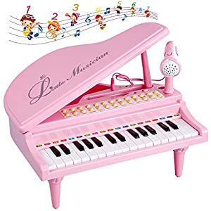 Give children the best gift:Educational piano toy is mom and dad gave baby first piano, from easy to difficult for children to learn to play the developmental piano, musical keyboard for your girls, develop kids' musical talent at an early age, espec...