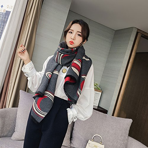 MH-RITA Winter Scarf Shawl Collar Long All-Match Thickened Dual-Purpose,Dark Red