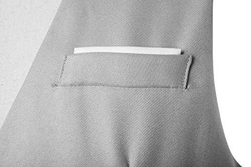 Hommes Grau Loisirs Bureau Mariage Coffre Costume En Gilet Col Veste Ajusté De Simple Haidean Décontracté V Moderne Avec dqgAdT