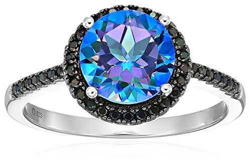- Sterling Silver Millennium Topaz And Black Spinel Halo Engagement Ring, Size 7