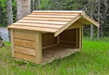 CozyCatFurniture Small Outdoor Feeding Station for Pets or Feral Cats with Extended Roof - Cedar Construction - Protection for 2-3 Food Dishes