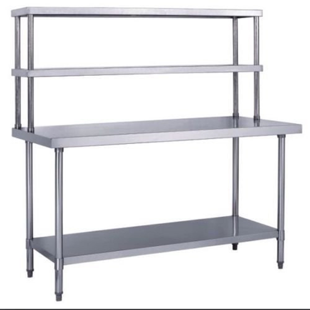 WORK TABLE FOOD PREPARATION & DOUBLE OVERSHELF COMBINATION RESTAURANT STAINLESS STEEL NSF APPROVED MANY SIZES AVAILABLE (WT 24''X48''-DOS 18''X48'')