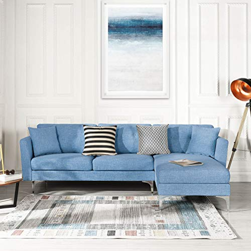 Blue Upholstered Linen Sectional Sofa Couch| Modern L-Shape Sectional,  Sectional Sofas and Couches, Sofa Couch with Chaise, for Small/Large Living  ...