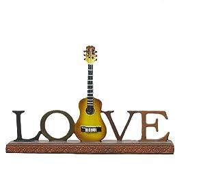 BANBERRY DESIGNS Guitar Desk Decor - Love Guitar Decor for Desktop - Vintage Music Display Themed Gift