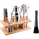 Image of Stainless Steel Cocktail Shaker Set Bundle of 9 Bar Tools Bartender Accessories (350 Millileter)